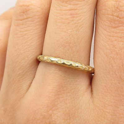 925 Sterling Silver Gold Plated Hammered Band Ring Size 9 1/4