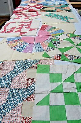 Variety Lot 1920S Vintage Large Cotton Quilt Blocks