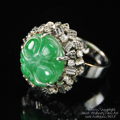 Chinese Green Jadeite Jade, Diamond and 14K White Gold Cocktail Ring SIZE: 6 1/2