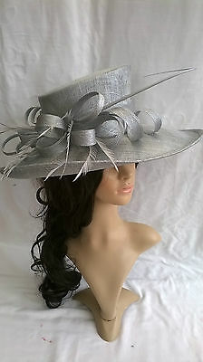SILVER METALLIC HAT.New.Wedding.Occasion races..formal hat.mother of the bride