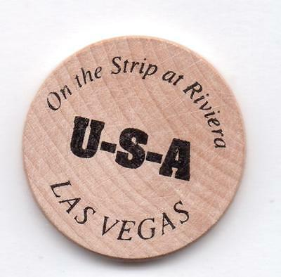 On The Strip At Riviera-U-S-A-Las Vegas-Wooden Nickel-One 1/2 Inches Width