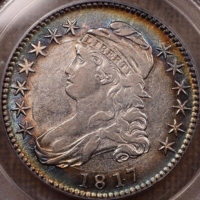 1817 O.103 Punctuated Date Bust half, PCGS XF45, album tone  DavidKahnRareCoins