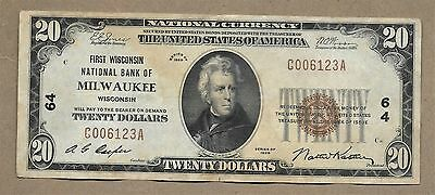 Series 1929 $20 First Wisconsin Bank Of Milwaukee, Wisconsin National Note #64