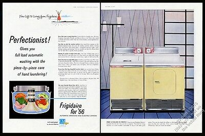 1956 Frigidaire yellow gold washer washing machine dryer vintage print ad