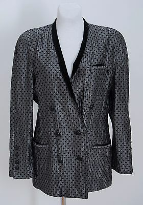 Women Escada Vintage Blazer Silk Wool Blend Doublebreasted Silver Black Gb 14
