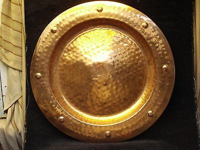 """Large Arts And Crafts Style Brass Wall Dish 23"""" Diameter"""
