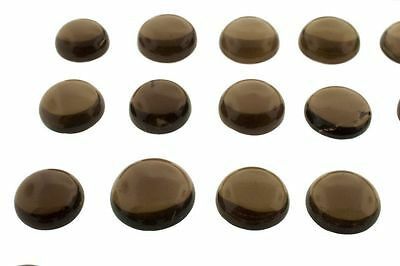 5 PIECES OF 4mm ROUND CABOCHON-CUT NATURAL AFRICAN SMOKEY QUARTZ GEMSTONES