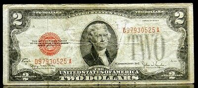 US Currency 1928 G $2 Two Dollar United States Note Red Seal FR 1508