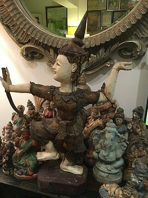 Large Antique Vintage Siamese Carved Wooden Statue, Warrior