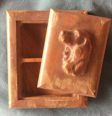 Vintage Wood Spaniel Setter Dog Playing Card Deck Holder Hand Crafted Rustic Old