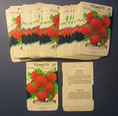 Wholesale Lot of 100 Old Vintage TOMATO Red Cherry Vegetable SEED PACKETS -EMPTY