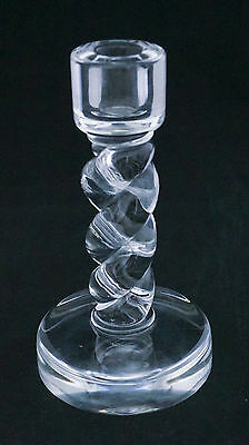 "1930-40 Signed Steuben 7858 Rope Twist Tall Candlestick 8"" Brilliant Glass"