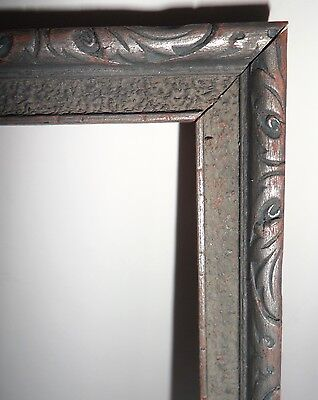 Antique Vtg 1920s Ornate Carved Wood & Painted Silver Gray Picture Frame 10 x 7