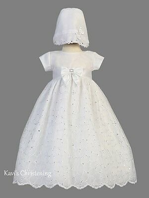 Girls White Christening Gown Baptism Dress Gown Organza Sequins Sz 0-18M Alexis
