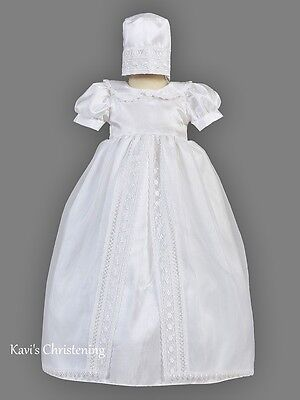 Girls White Christening Dress Baptism Shantung Organza Split Skirt 0-18M Abigail