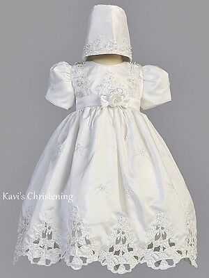Girls White Christening Gown Baptism Dress Embroidery Pearls Cut Work Sz 3M-24M