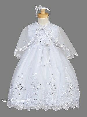 Girl White Christening Gown Baptism Dress Organza Overlay w/Cape & Headband 3M-6