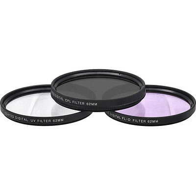 General Brand 62mm UV, Polarizer & FLD Deluxe Filter Kit 3 Set w/ Carrying Case