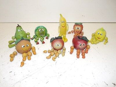 Lot Of 8 Vintage Fruit Shelf Sitters, Including Full Watermelon And Apple Figure