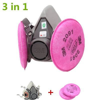 Half Face Dust Mask W/Filters Set Respirator Spray Painting For 3M 6200 2901