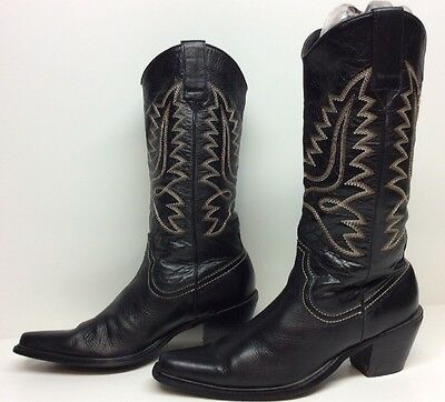 Womens Steve Madden Snip Toe Cowboy Leather Black Boots Size 6 M