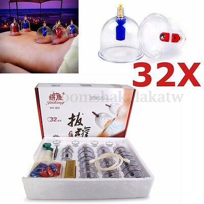 32 Cups Set Vacuum Cupping Suction Massager Kit Massage Acupuncture Pain Relief