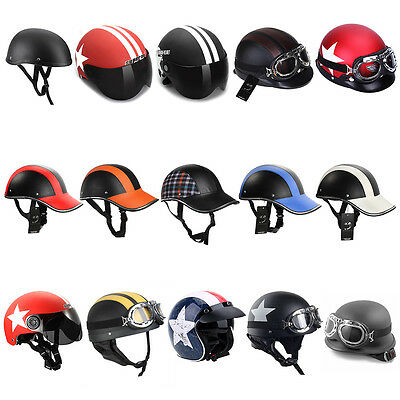 Motorcycle Half Face Helmet Scooter Biker Adult