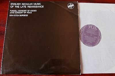 English Secular Music Of Late Renaissance Lp Burgess Vox Stgby 624 Ex++ England