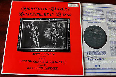 L'oiseau Sol 60036 18Th Century Shakespearean Songs Lp Cantelo Nm (Re) (1977)