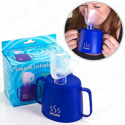 QUALITY STEAM INHALER CUP+MASK Cold/Flu Remedy Airway Blocked Sinus/Nose Clearer