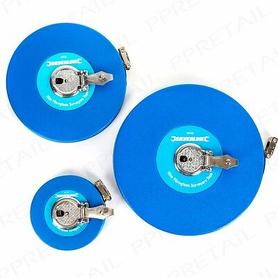 10M - 50M SILVERLINE FIBREGLASS SURVEYORS TAPE Measure Reel Rule Metric/Imperial