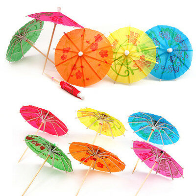 24 Mixed Paper Cocktail Umbrellas Parasols for Party Tropical Drinks Accessories