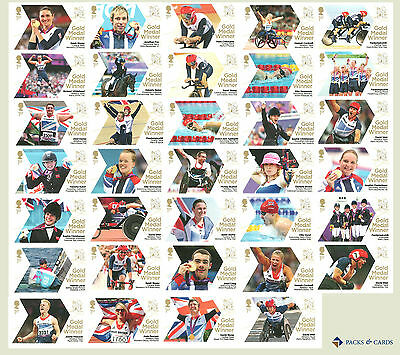 Full Set of 34 Paralympic Games Gold Medal Winners London 2012 Single Stamps