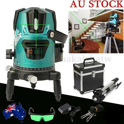 520nm Slash Diagona Rotary Laser Line Beam Leveling Level Meter Tripod Kit Green