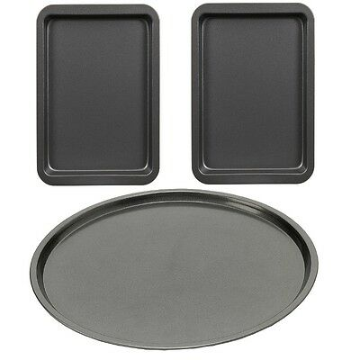 Set of 3 Carbon Steel Kitchen Baking Cooking Roasting Non Stick Tin Oven Tray