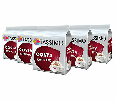 TASSIMO Costa Cappuccino Coffee Capsules Pods T-Discs Pack of 5, 40 Drinks
