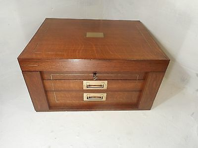 Quality Desktop Oak Collectors Chest of Drawers , Stationery box ref3080