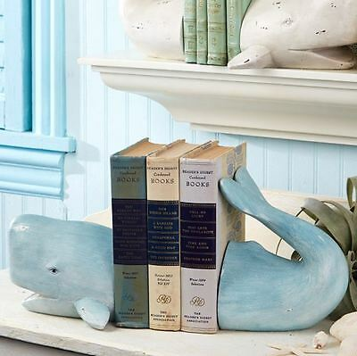 Weathered Ancient Wise Nautical Whale Bookends Coastal Home Accessory ~ Blue