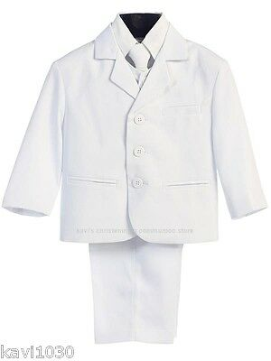 Boys White Suit Formal 5 Piece Ring Bearer First Communion Husky Size 6M-20H