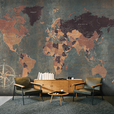 WALLPAPER - NON-WOVEN HUGE PHOTO WALL MURAL ART PRINT - WORLD MAP k-A-0057-a-b