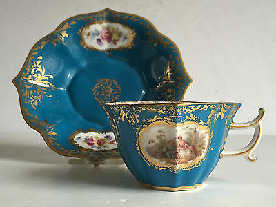 WATTEAU Courting Couple Painted Meissen Porcelain Demitasse Cup and Saucer 19C