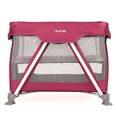 Nuna Sena Mini Baby Travel Cot And Mattress With Bassinet Rasberry