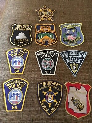 Lot Of Police And Sheriff Patches Massachusetts Kentucky Georgia Alameda Nassau