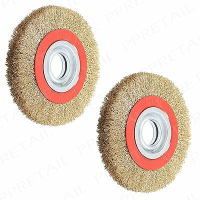 """2x 6"""" Wire Brush Wheel w/ Adaptor Rings HEAVY DUTY Use With Bench Grinder Polish"""