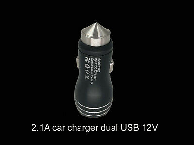 Black dual port USB 12v 2.1A universal car cigarette lighter charger adapter