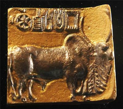 "MOUNTED INDUS SEAL TABLET ""Golden Bull of Harappa"" 2500 BC museum replica"
