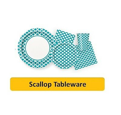 TEAL SCALLOP Party Tableware Disposable Birthday Supplies Event Decorations