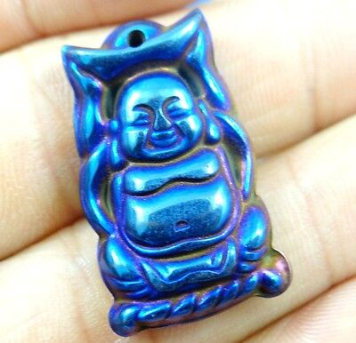 Titanium Hematite Carved Buddha Gem pendant beads necklace Jewelry making D11