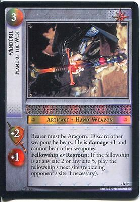 Lord Of The Rings Foil CCG Card RotK 7.R79 Anduril, Flame Of The West