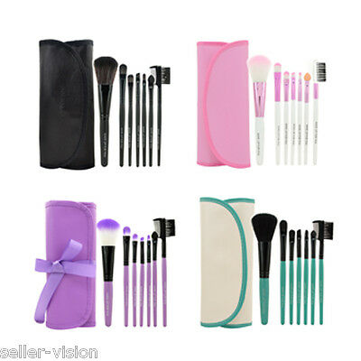 7 Pcs Professional Cosmetic Make Up Eyeshadow Brush Set with Leather Case Bag